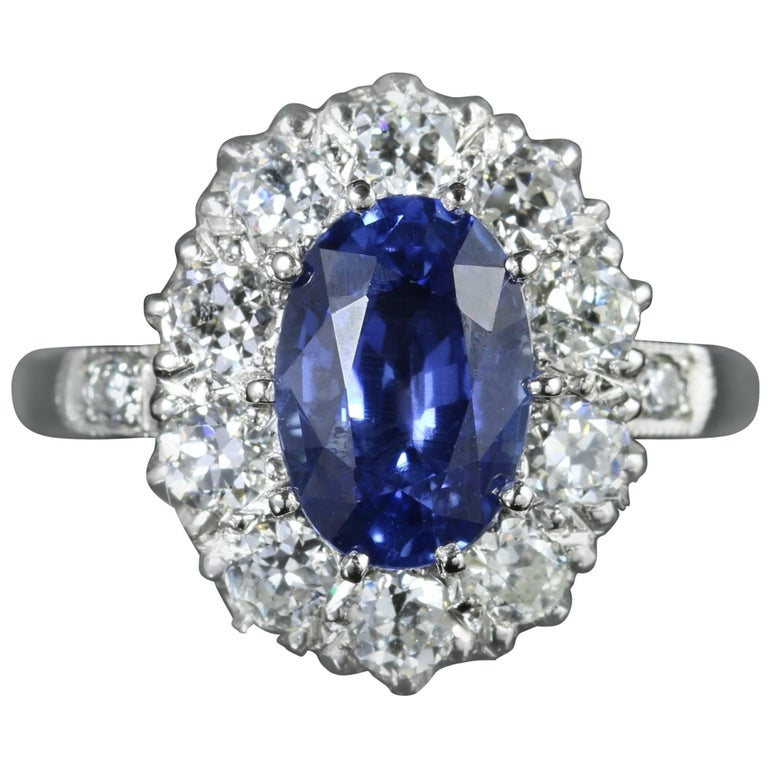 Antique Edwardian Natural Sapphire Diamond Ring Platinum Circa 1910