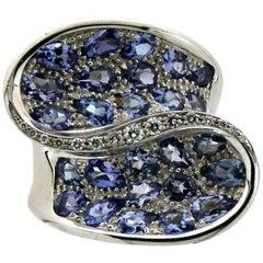 Tanzanite White Gold Diamonds Cocktail Ring