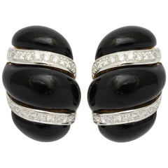Italian Black Enamel Diamond Gold Earrings