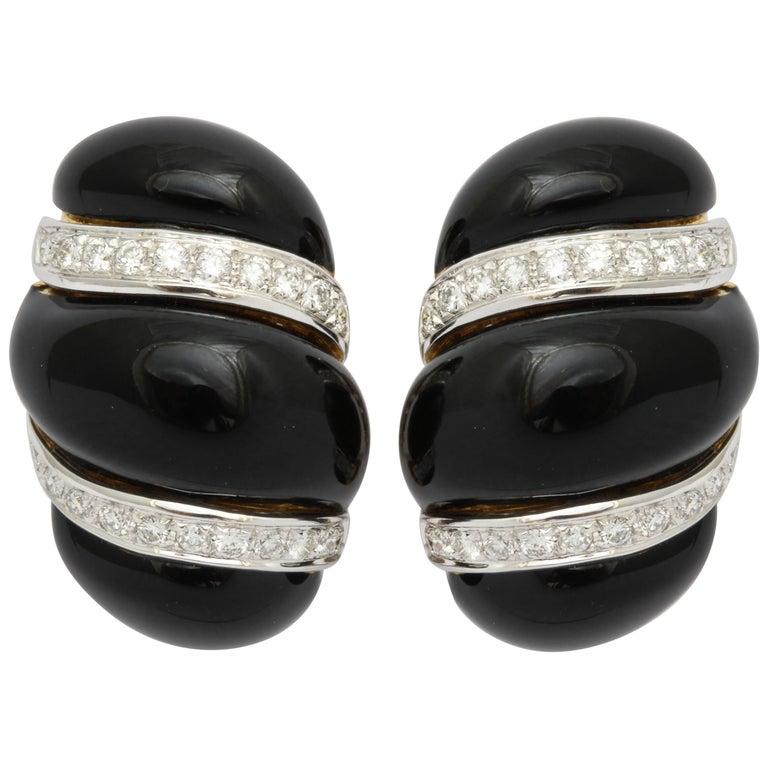 Italian Black Enamel Diamond Gold Earrings For Sale