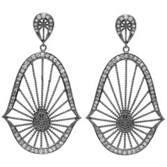 Diamond Rhodium Oriental Statement Earrings