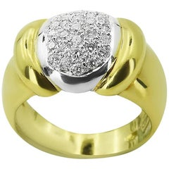 Yellow Gold Chunky with Brilliant Cut 0.55 ct Diamonds Ring