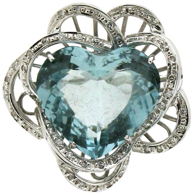 Aquamarine Heart White Gold Diamonds Fashion Ring