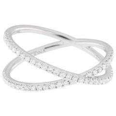 Jona White Diamond Gold Crossover Ring