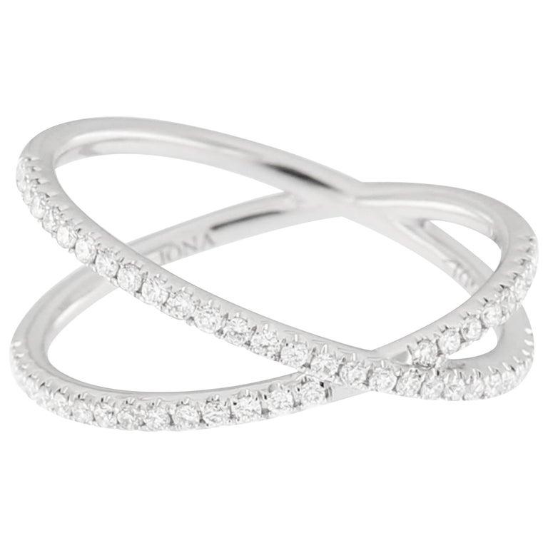Jona White Diamond 18k White Gold Crossover Ring