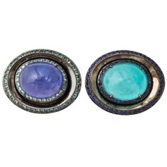 One of a Kind Paraiba Tourmaline Tanzanite Gold Cufflinks by Michael Kanners