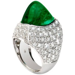 20.44 Carat Emerald Diamond Dome Ring