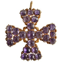 Georgian Amethyst Maltese Cross Pendant