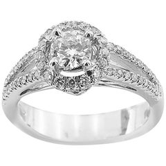 White Gold Engagement with Brilliant Cut Diamonds Ring