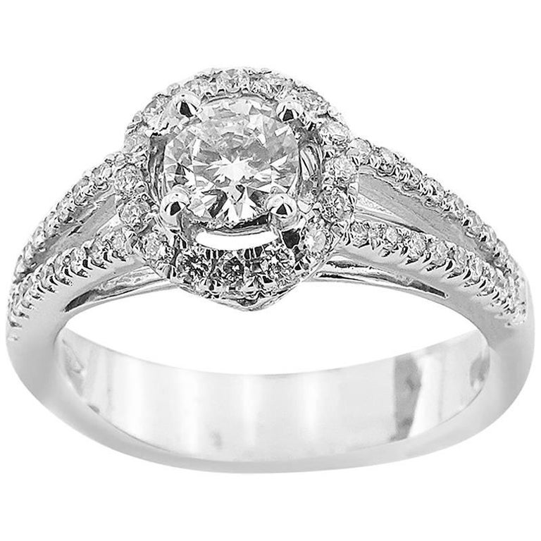 White Gold Engagement with Brilliant Cut 0.40 ct Diamonds Ring