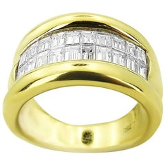 Yellow Gold with Emerald Cut 0.60 ct Diamonds Ring