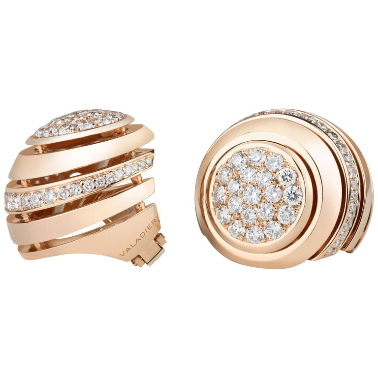 "18 Karat Rose Gold 2.57 Carat Round Diamonds ""Dome"" Demi Pavé Earrings"