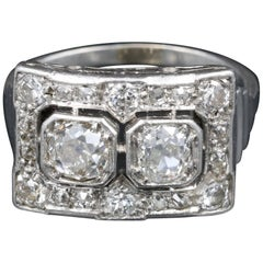 French Art Deco Platinum and Diamonds Ring