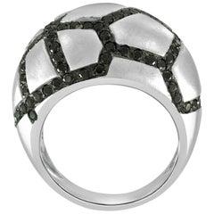 1.68 Carat Black Diamond Dome Ring in 18 Karat White Gold