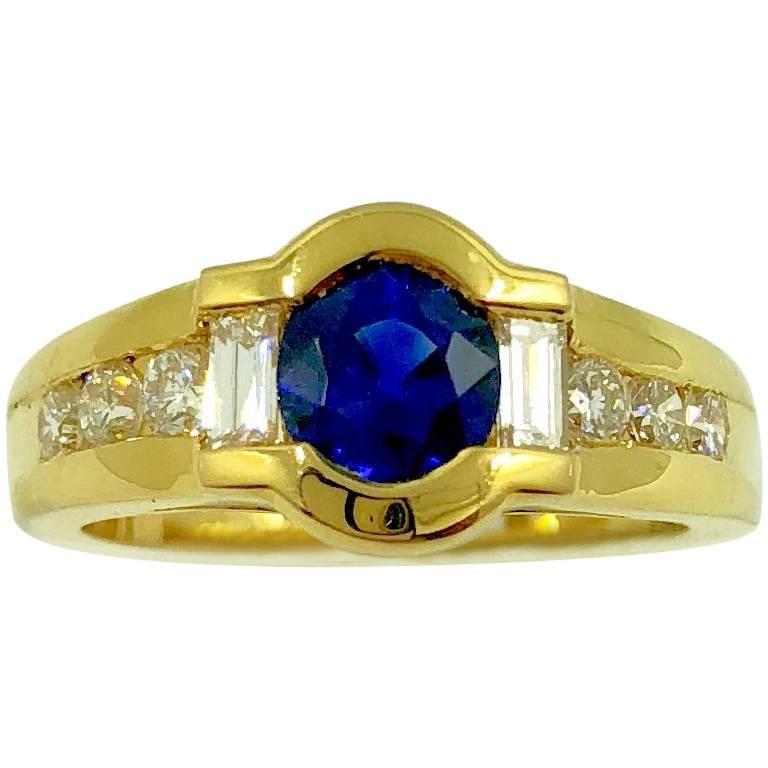 G.Minner Sapphire Diamond Gold Ring