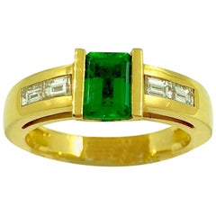 G.Minner Emerald Diamond Gold Ring