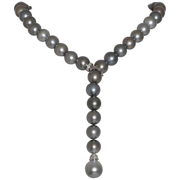Tahiti Cultured Pearls and Diamonds White Gold Adjustable Necklace