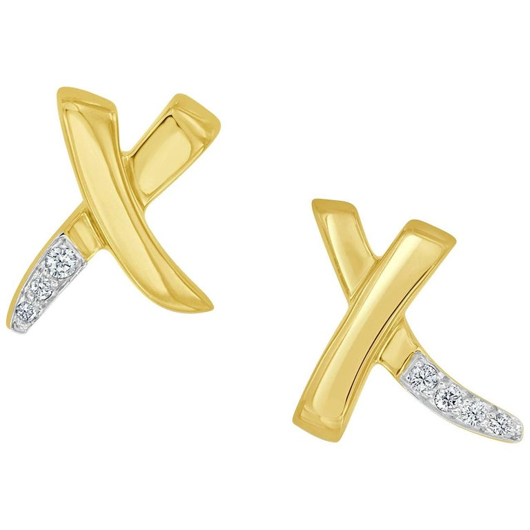 Tiffany & Co. Paloma Picasso Diamond 18 Karat Yellow Gold X Earrings For Sale