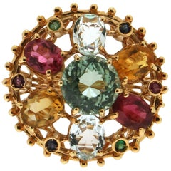 Yellow Gold 14 Karat Tourmaline Aquamarine Sapphires Rubies Ring