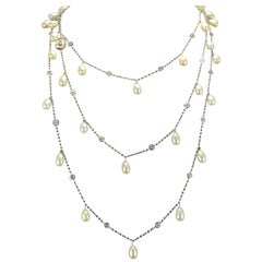 Italian White Vermeil Cultured Pearls Crystals Cameo Long Necklace