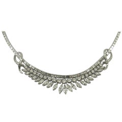Midcentury Platinum Bib Necklace with Baguette, Marquise and Round Cut Diamonds