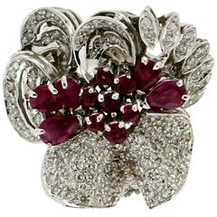 Rubies White Gold Diamonds Cocktail Ring