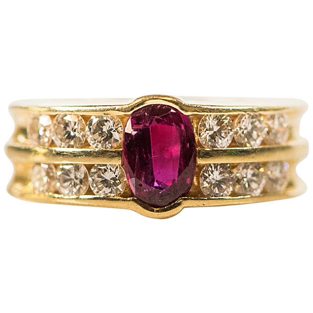 1950s GAL Certified 0.75 Carat Oval Ruby and Diamond 14K Gold Ring
