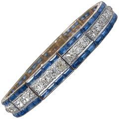 Diamonds, Sapphires, 18 Karat Gold and Platinum Bracelet, circa 1910