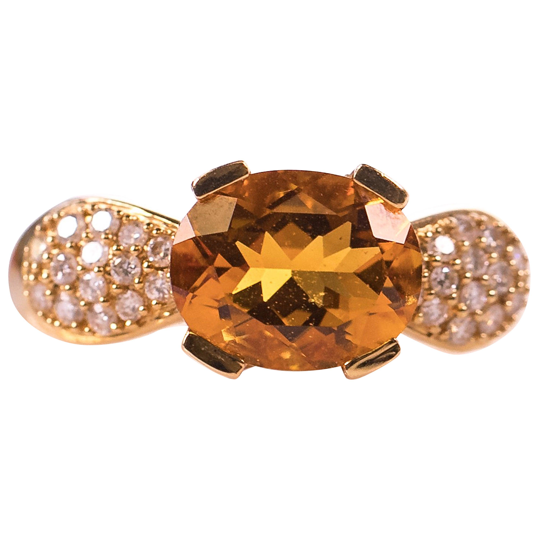 3 Carat Citrine and Diamond 18K Gold Ring