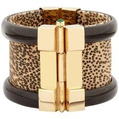 Fouché Bespoke Gold Horn Gold Emerald Sapphire Ruby Wood Cuff