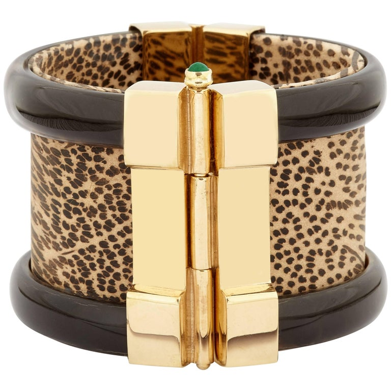 Fouché Bespoke Gold Horn Gold Emerald Wood Bracelet Cuff