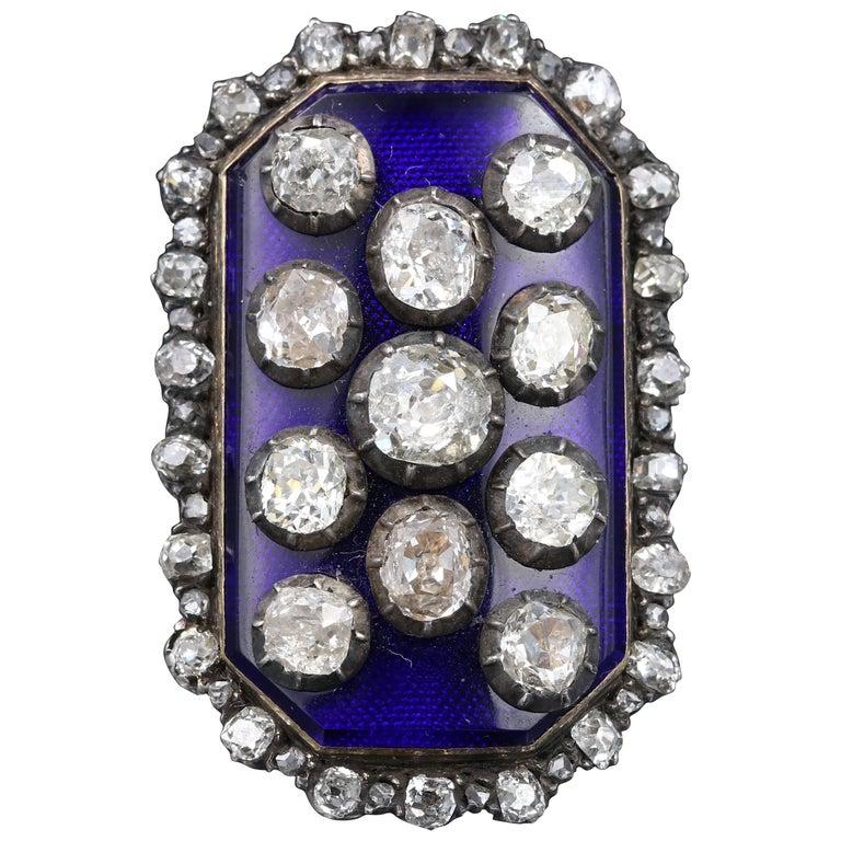 Rare Antique French Diamond Cobalt Blue Enamel ring circa 1790