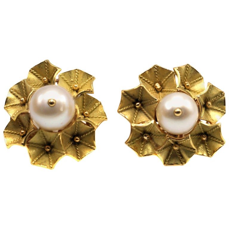 1960s French Pearl Yellow Gold Trumpet Flower Ear Clips
