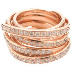 Tibet Multi Row Diamond Band in Rose Gold by Mattioli