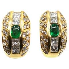 Aldebert French Emerald Diamond Gold Huggie Ear Clips