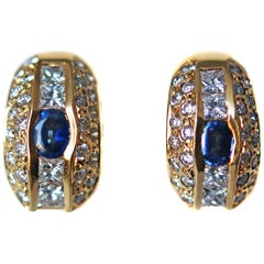 Aldebert French Sapphire Diamond Gold Huggie Ear Clips