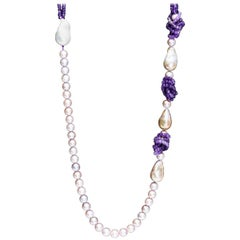 Ametyst and Baroque Pearls and Pink and Purple Freshwater Pearls