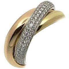 Cartier Ring Diamonds Yellow White Pink Gold Model Trinity