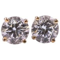 1.50 Carat Diamond and 14K Gold Stud Earrings
