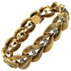 French Retro Diamond Gold Bracelet