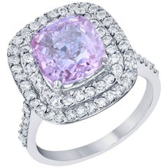 GIA Certified 5.75 Carat Pink Sapphire White Gold Diamond Engagement Ring