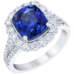 GIA Certified 4.90 Carat Blue Sapphire Diamond Engagement Ring
