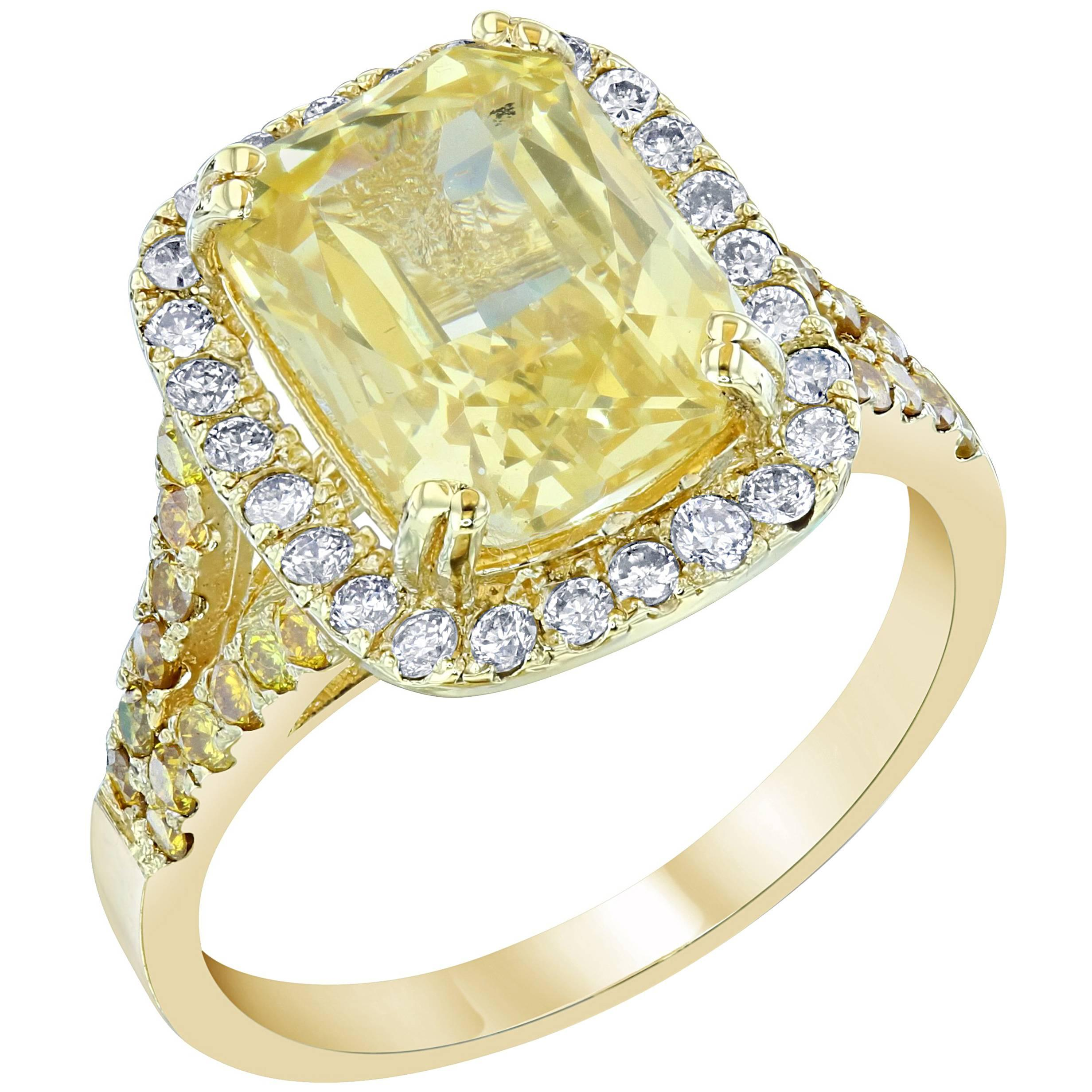 0470165b10a26 GIA Certified 6.42 Carat Yellow Sapphire Diamond Cocktail Ring