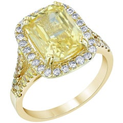 GIA Certified 6.42 Carat Yellow Sapphire Diamond Cocktail Ring
