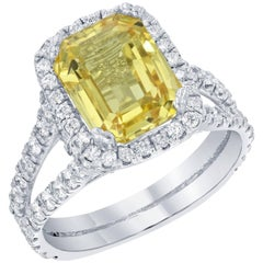 GIA Certified 6.50 Carat Yellow Sapphire Diamond Engagement Ring