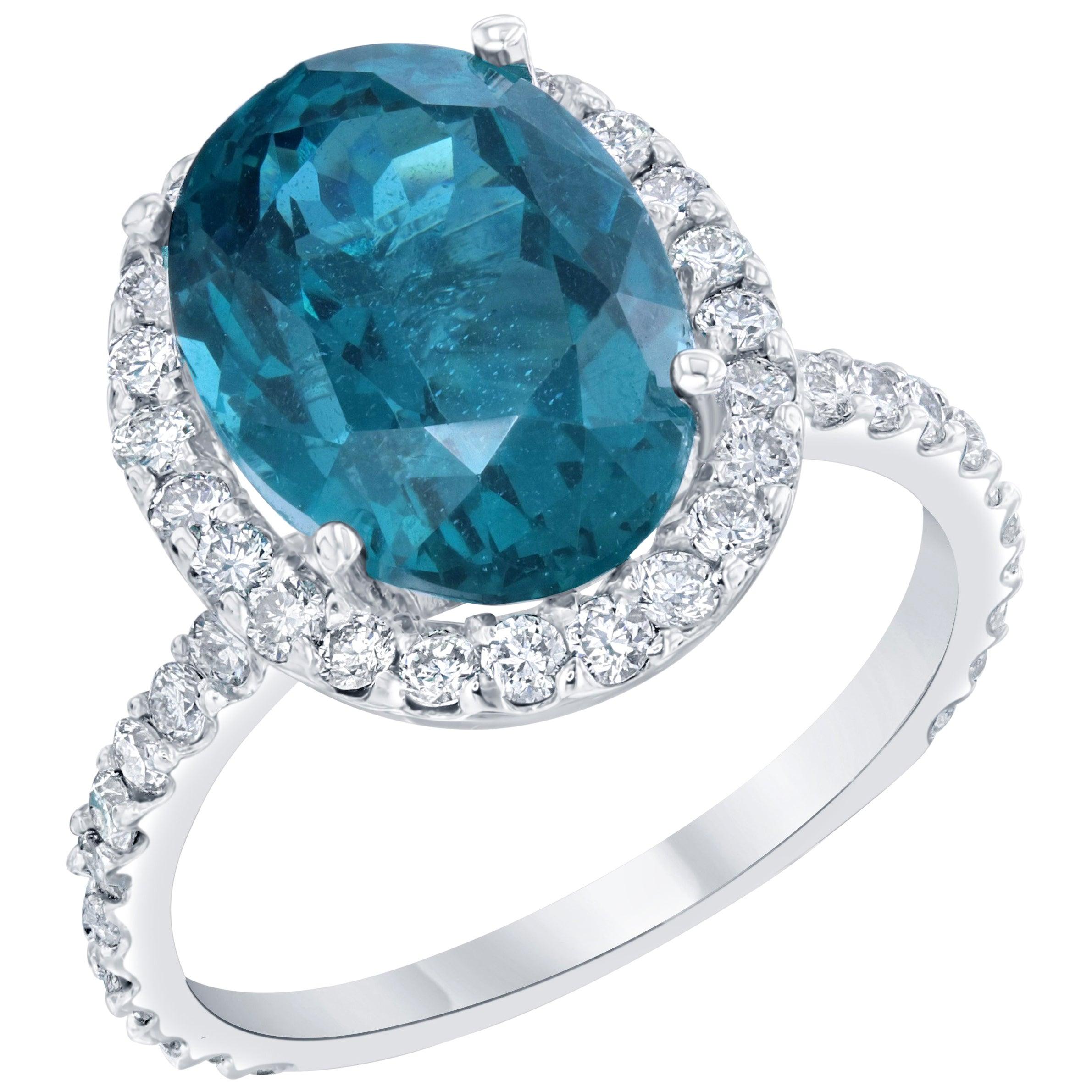 6.95 Carat Apatite Diamond 14 Karat White Gold Halo Engagement Ring