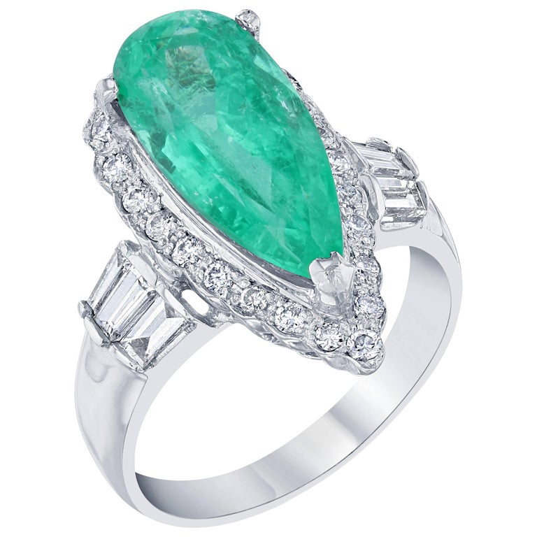 GIA Certified 5.29 Carat Emerald Diamond Cocktail Ring