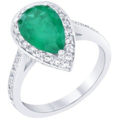 GIA Certified 2.56 Carat Emerald Diamond Engagement Ring