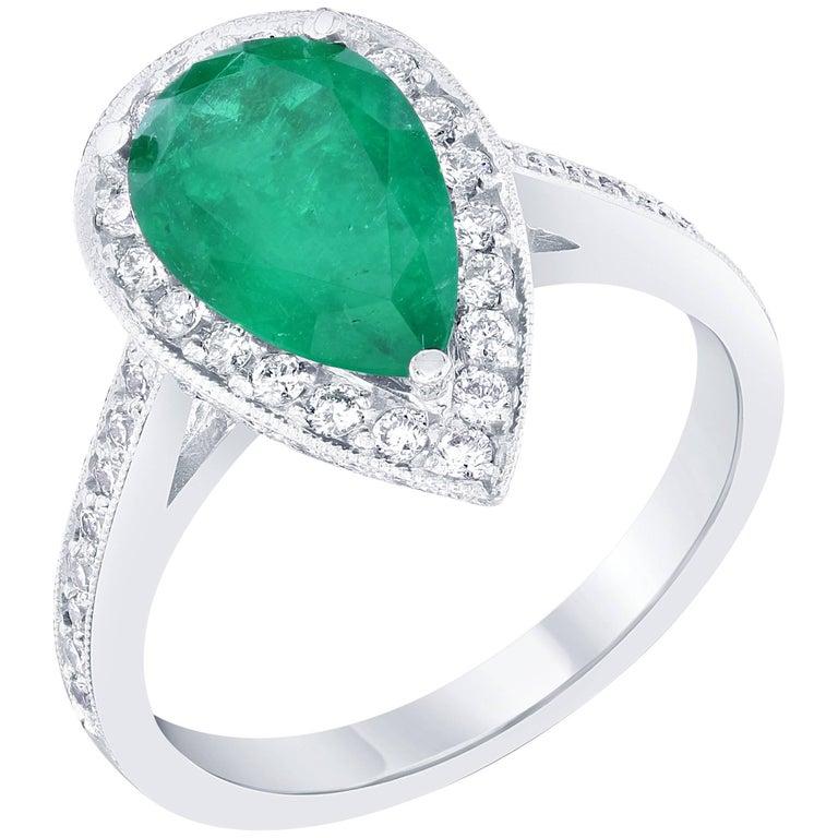 GIA Certified 2.56 Carat Emerald Diamond Engagement Ring