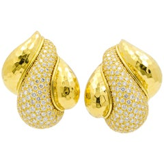 Henry Dunay Diamond Gold Clip Earrings